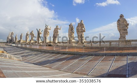 Stone saints sculptures on Saint Peter Basilica,Vatican, Italy - stock photo