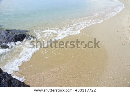 Stone,Sand,clear water and beach at lake in morning time,Select focus with shallow depth of field,Ideal use for background.