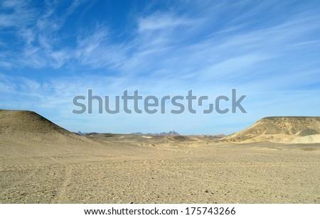 Stone Sandy Egyptian desert. - stock photo