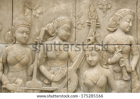Stone sculpture about Siam's musician - stock photo