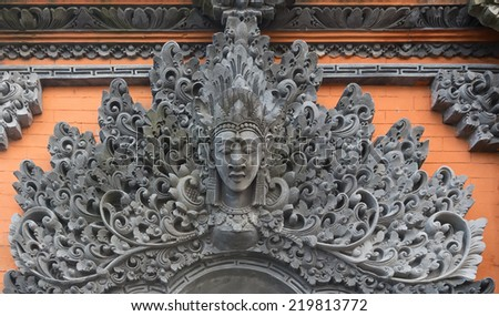 Stone sculpture on entrance door of Tanah Lot, Bali, Indonesia - stock photo