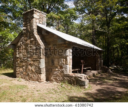 Stone shelter called Byrd's Nest on climb of Old Rag - stock photo