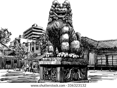Stone Shisa statue (Okinawa lion) on Japan city shrine background. Black and white dashed style sketch, line art, drawing with pen and ink. Retro vintage picture.
