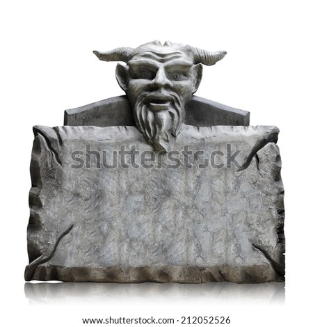 Stone sign board with devil head isolated on white background, copy space and clipping path. - stock photo