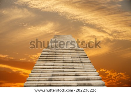 stone stair in the way up to sky - stock photo