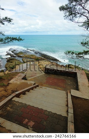 Stone staircase at Tip of Borneo,Kudat, Sabah - stock photo