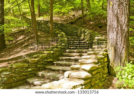 Stone stairs of Letchworth state park at Wolf's creek - stock photo