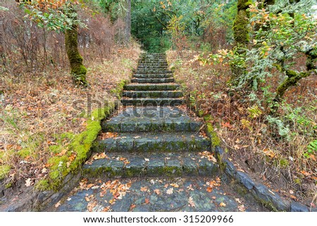 Stone Stairs Steps at Eagle Creek Overlook Hiking Trail in Columbia River Gorge Oregon - stock photo