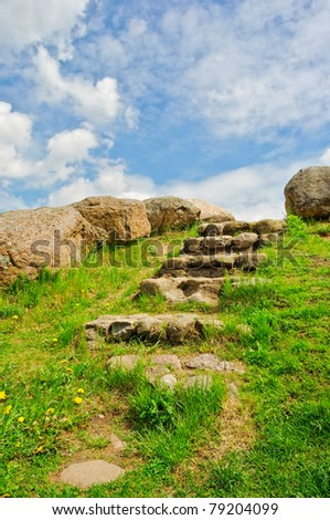 stone stairway up to blue sky - stock photo