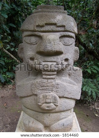 Stone statue of San Augustin. Colombia - stock photo