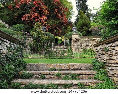 Stone Steps in a Peaceful Garden - stock photo