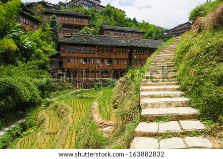 Stone steps in ping'an village at longsheng china - stock photo