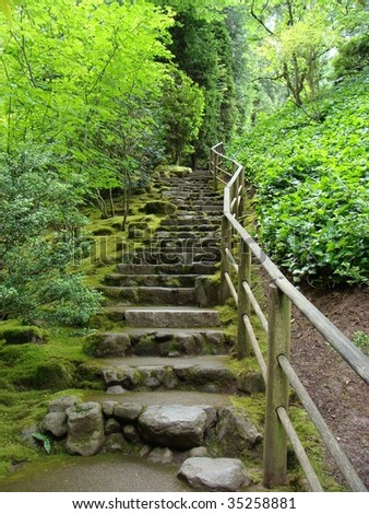 Japanese Garden Stone Staircase Covered Moss Stock Photo