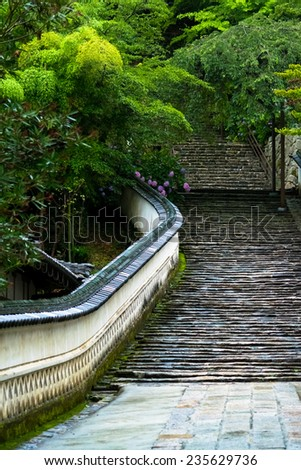 Stone steps of Hase-dera Temple  - stock photo