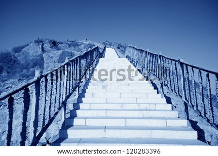 stone steps under the blue sky in north china - stock photo