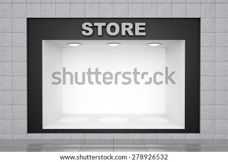 Stone Store Wall with empty niche for exhibition - stock photo