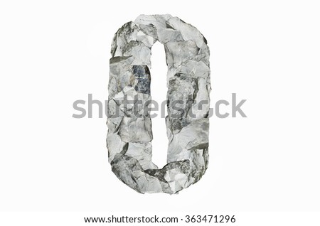 Stone texture in the shape of number 0, isolated on white background