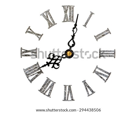 stone-textured roman clock face isolated on white - stock photo