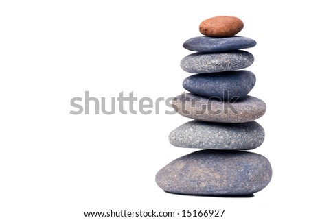 stone tower isolated on a white background - stock photo