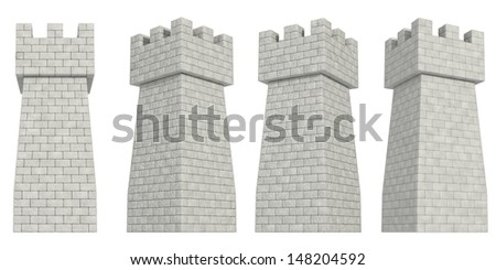 stone tower on a white background - stock photo