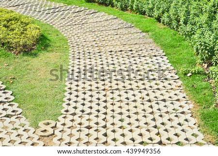 stone walkway in the garden - stock photo