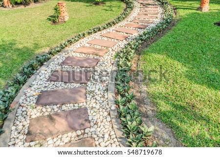 Stone Walkway Outdoor Green Garden Stock Photo Download Now