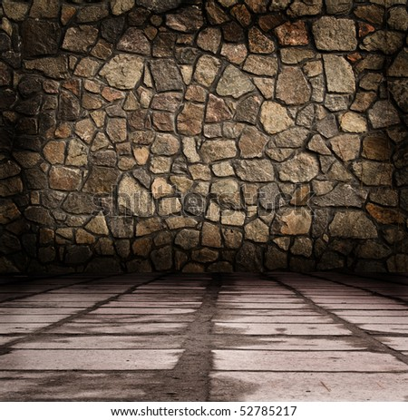 stone wall by a sidewalk for your illustrations - stock photo