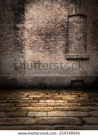 Stone Wall interior Stage - stock photo