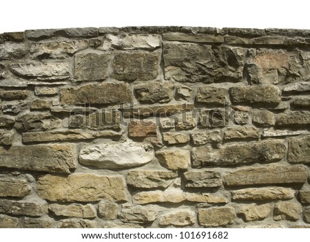 stone wall isolated on top, white background - stock photo