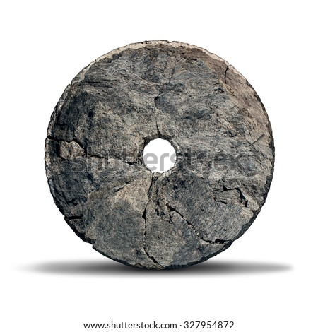 Stone wheel object as an early invention of the prehistoric era and ancient symbol of technology and innovation designed by a caveman on a white background.