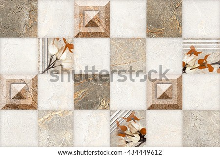 Stone With Flower Abstract Pattern Seamless   - stock photo