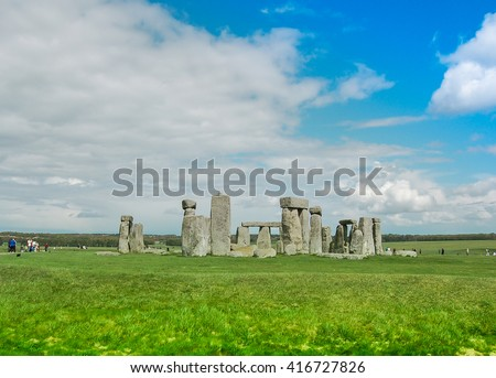 Stonehenge against blue sky - stock photo