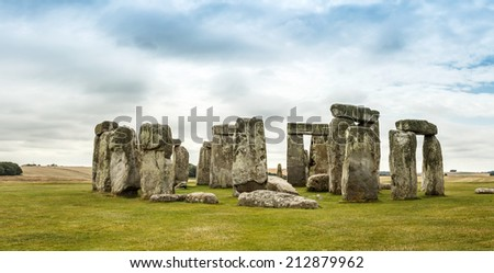 Stonehenge an ancient prehistoric stone monument near Salisbury, Wiltshire, UK - stock photo