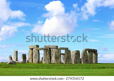 Stonehenge an ancient prehistoric stone monument near Salisbury, Wiltshire, UK. in England - stock photo