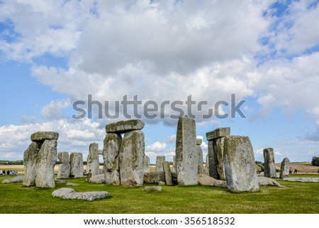 Stonehenge an ancient prehistoric stone monument near Salisbury, Wiltshire, UK. in England