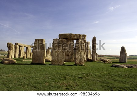 Stonehenge: Huge, mysterious, ancient prehistoric stone monument near Salisbury, Wiltshire, UK, UNESCO World Heritage Site .  Religious and scientific purposes for the site have been proposed. - stock photo
