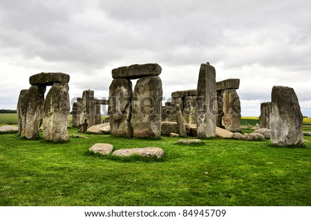 Stonehenge in gloomy summer day. UK - stock photo