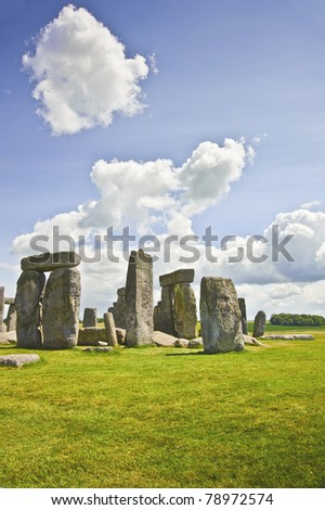 Stonehenge is aligned with the midsummer sunrise and midwinter sunset in England to celebrate the solstice. - stock photo