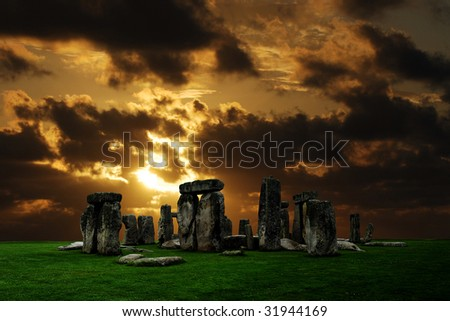 Stonehenge large panorama at sunset, United Kingdom - stock photo