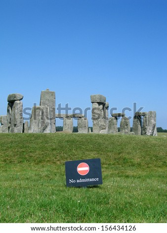 Stonehenge. no admitance sign in front - stock photo