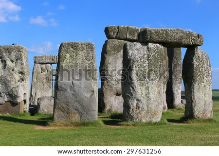 Stonehenge on the lush countryside of England in Wiltshire - stock photo