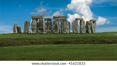 Stonehenge panorama - stock photo