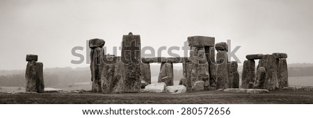 Stonehenge panorama in black and white with cloud near London as the National Heritage site of UK. - stock photo