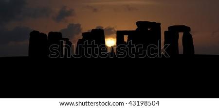Stonehenge silhouette panorama - stock photo