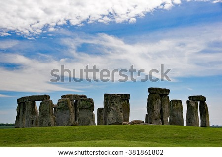 Stonehenge, stone age megaliths in Great Britain.