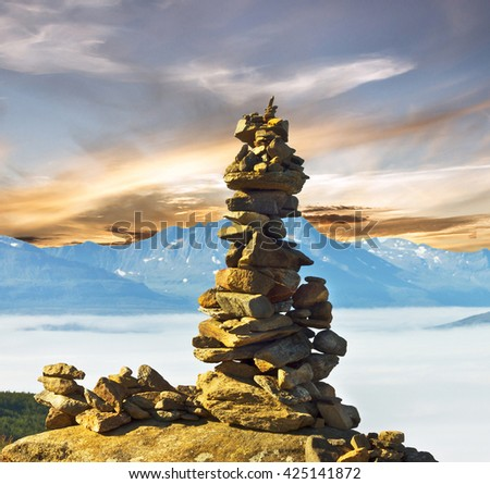 Stones and mountain landscape, Norway - stock photo