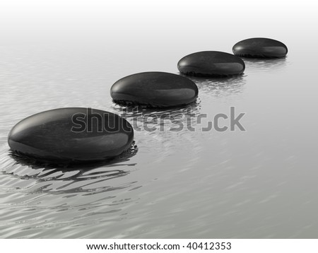 Stones arranged in a row on the water - 3d render - stock photo
