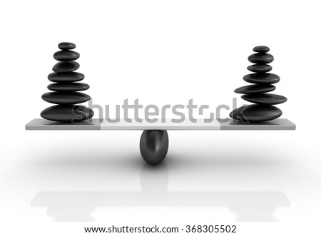 Stones Balancing on a Seesaw - Balance Concept - High Quality 3D Render   - stock photo
