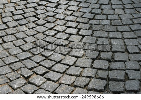 Stones cobblestones on Prague street.  - stock photo