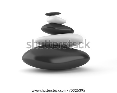 Stones. 3d Illustration, isolated - stock photo